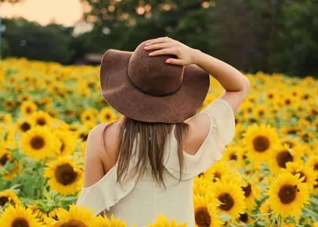 en kvinna går genom ett fält med solrosor