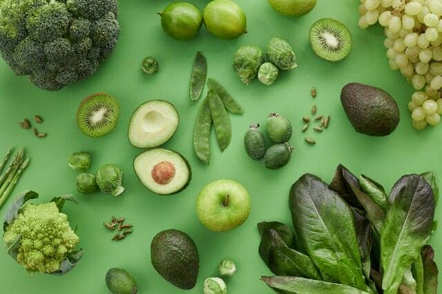 Grön frukt och grönsaker
